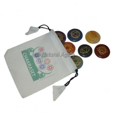 7 Chakra Engraved Set With White Pouch