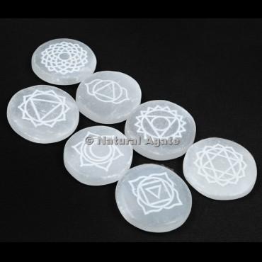 Engraved Selenite 7 Chakra Disc Set