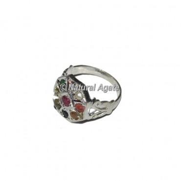 9 Stone Round Sliver Chakra Ring