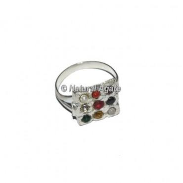 9 Stone Sliver Square Chakra Ring