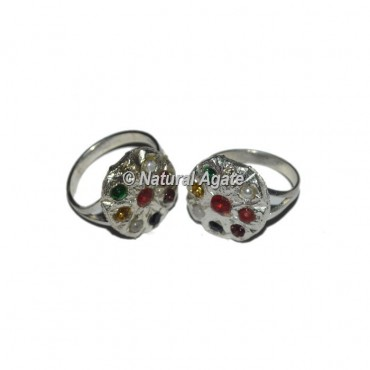 Agate 9 Stone Healing Sliver Chakra Ring