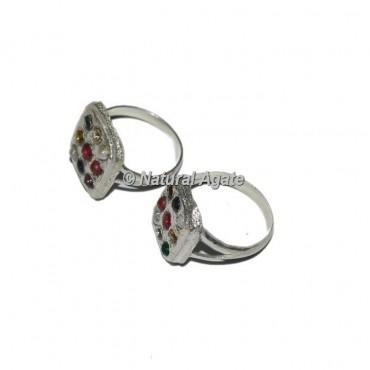 Agate Square Shape 9 Stone Sliver Chakra Ring
