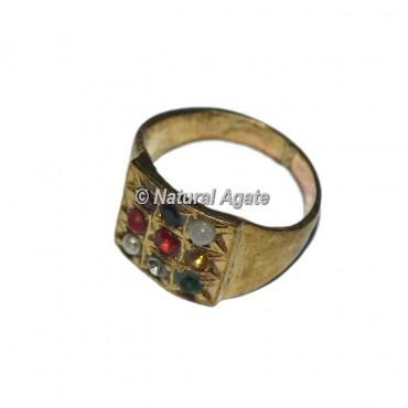 9 Stone Golden Chakra Ring