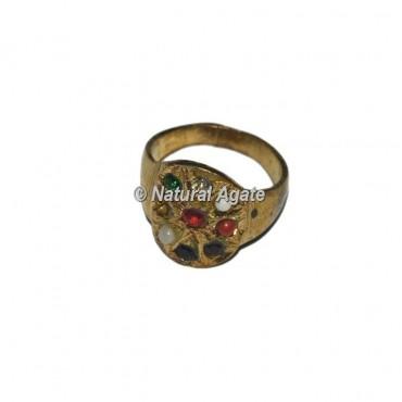 Agate Round Shape 9 Stone Golden Chakra Ring
