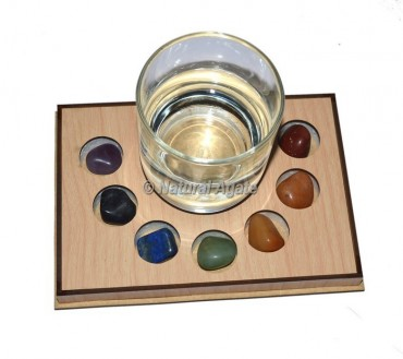 Seven Chakra Tumble Stone Wooden Coaster