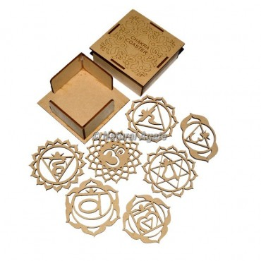 7 Chakra Wooden Coaster Set