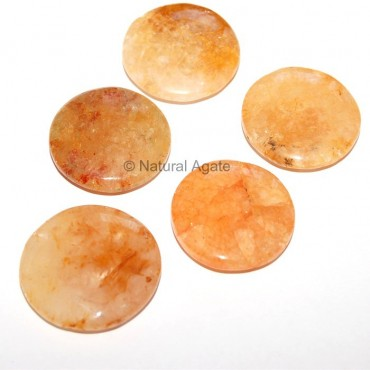 Golden Quartz Round Disc