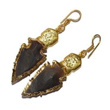 Golden Electroplated Arrowheads Earrings