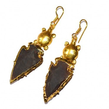 Electroplated Arrowheads With Golden Turtle Earrings