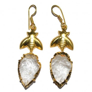 Crystal Quartz Arrowheads With Golden Fly Earrings