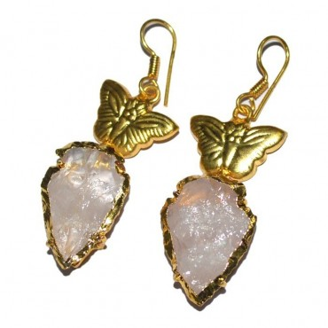 Rose Quartz Electroplated Arrowheads With Butterfly Earrings