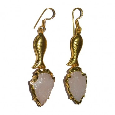Rose Quartz Arrowheads With Golden Fish Earrings