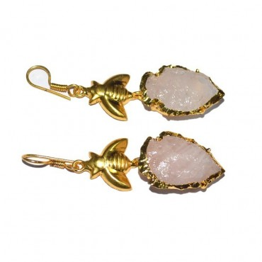 Rose Quartz Electroplated Arrowheads With Fly Earrings