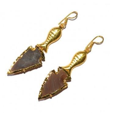 Jasper Arrowheads With Golden Fish Earrings