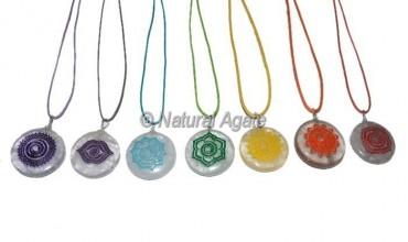 Crystal Quartz Seven Engraved Chakra Pendants