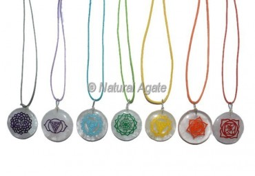 Crystal Quart  Flower Engraved Chakra Pendants