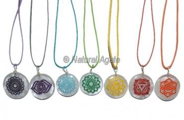 Crystal Quartz Accent Engraved Chakra Pendants