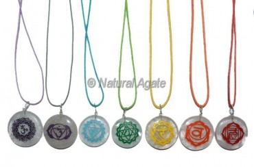 Sanskrit Crystal Quartz Engraved Chakra Pendants