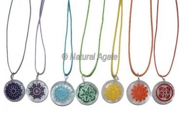 Crystal Quartz Seven Chakra Engraved Pendants