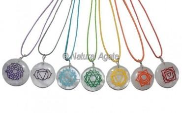 Yoga Chakra Crystal Quartz Engraved Chakra Pendants