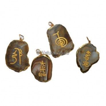 Engraved Agate Slice Pendants