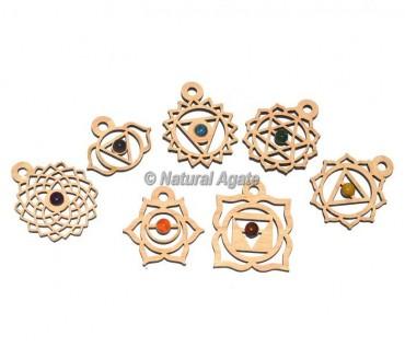 Seven Chakra Wooden Pendants Set