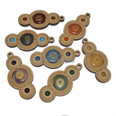 Engraved Seven Chakra Wooden Pendant Set