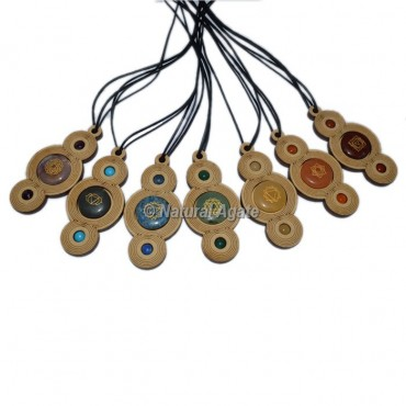 Engraved 7 Chakra Wooden Pendant Set With Cord