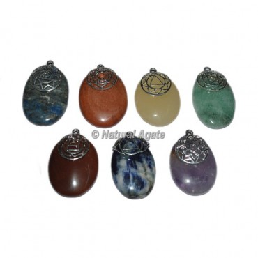 Seven Chakra Engraved Oval Pendants Set