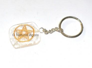 Crystal quatz Pentagram Keychain