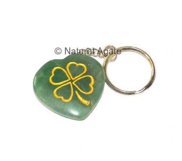 Green Jade With Engraved Flower Keychains