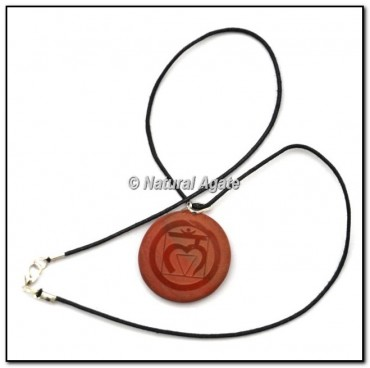 Red Jasper Embossed Root Chakra Pendants
