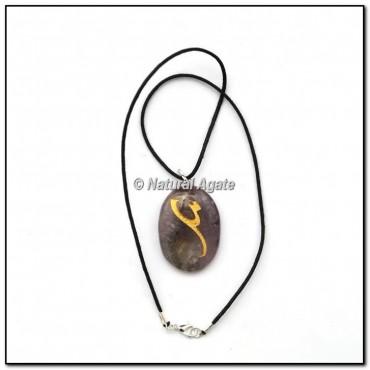 Amethyst Oval Reiki Symbol Pendants
