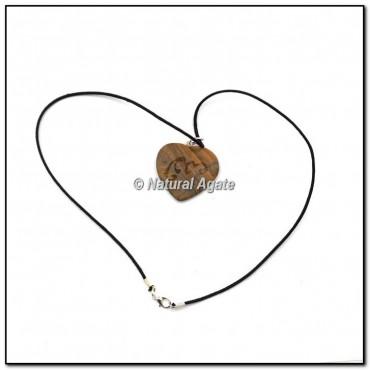Tiger Eye Stone Heart Emboosed Reiki Pendants