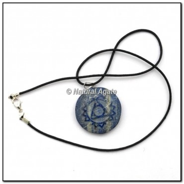 Lapis Lazuli Embossed Throat Symbol Pendants