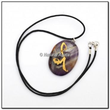 Amethyst Oval Engraved Reiki Symbol Pendants