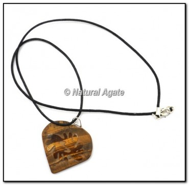 Engraved Tiger Eye Heart Pendants