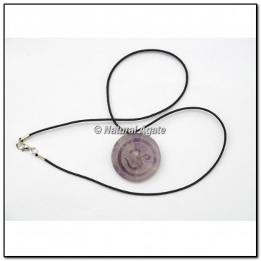 Amethyst Embossed Om Disc Pendants