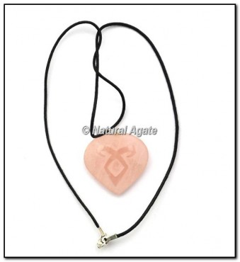 Rose Quartz Embossed Heart Pendants