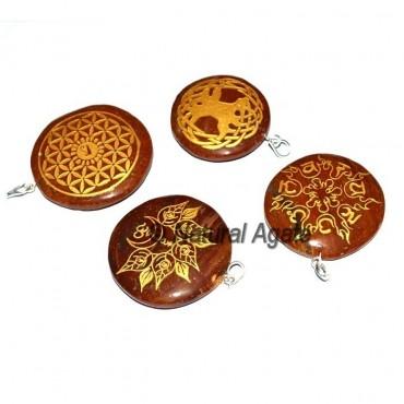 Red Jasper Chakra Sanskrit Disc Pendants