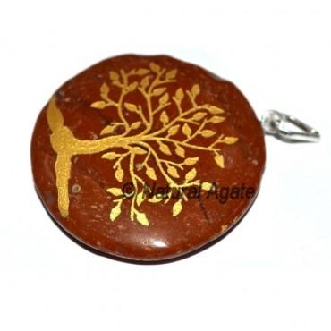 Black Agate Engraved Tree Pendants