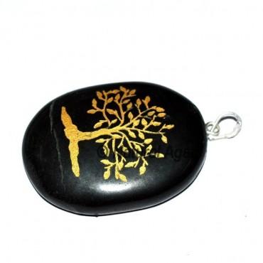 Black Jasper Tree Moon Pendants
