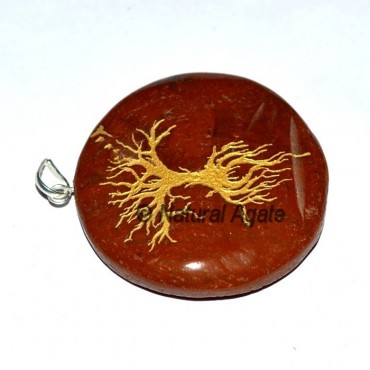 Red Jasper Tree Moon Engraved Pendants