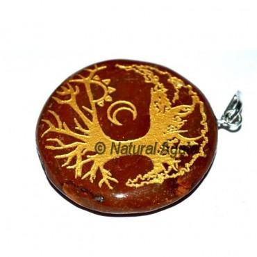 Red Jasper Big Tree Engraved Pendants