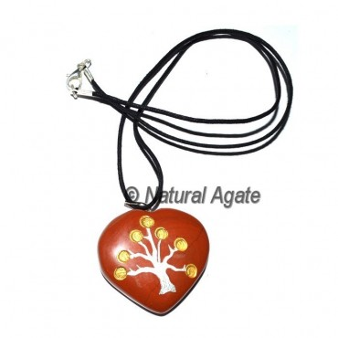 Red Jasper Tree Heart Pendants