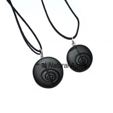Black Agate Embossed Choko ReikI Pendants