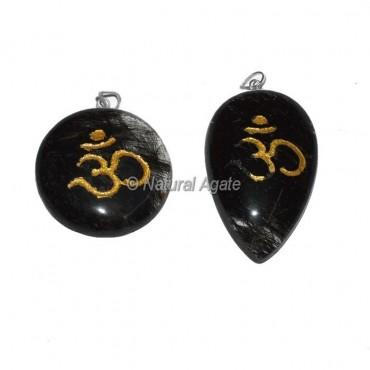 Black Rutile Om Engraved Pendant