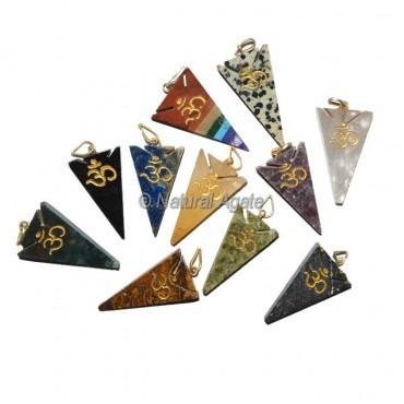 Assorted Stone Arrowheads Om Pendant