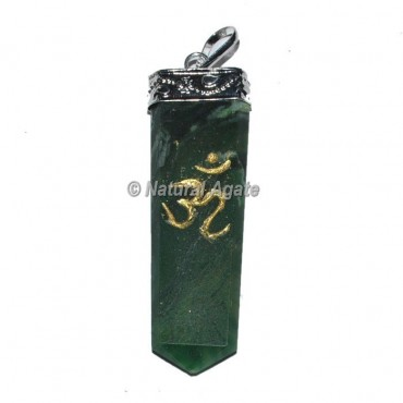Green Aventurine Om Pencil Pendants