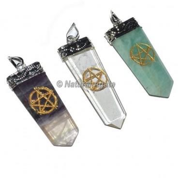Pentagram Star Engraved Pencil Pendants